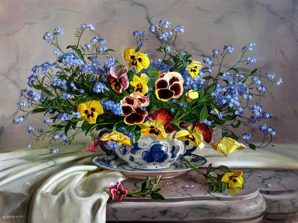 цветы, скатерть, стол