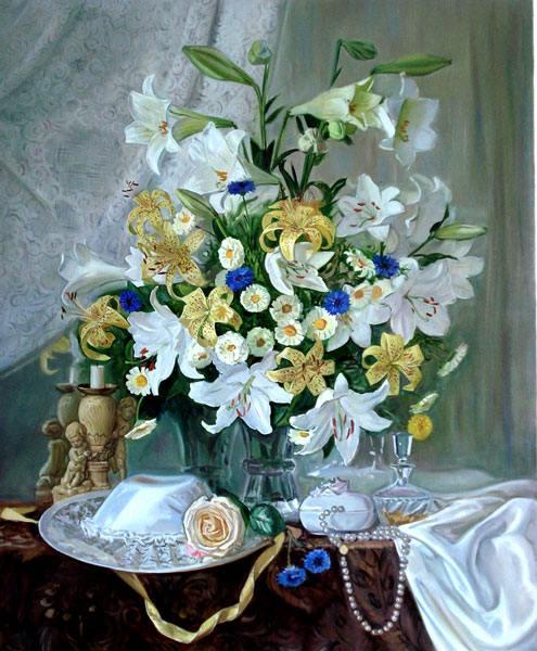 букет, цветы, шляпа, бусы