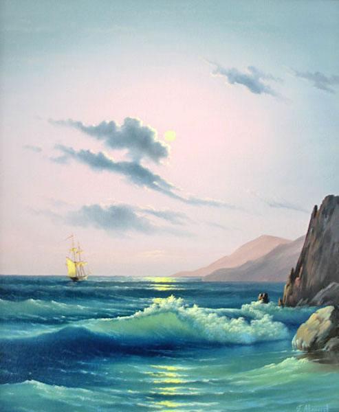 корабль, море, волны