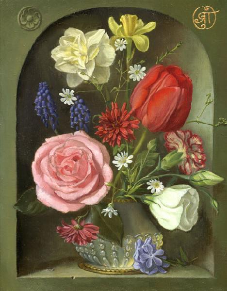натюрморт, цветы, букет, роза, тюльпан, нарцисс, хризантема, гвоздика