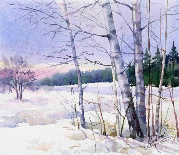 Реализм поле лес небо снег зима