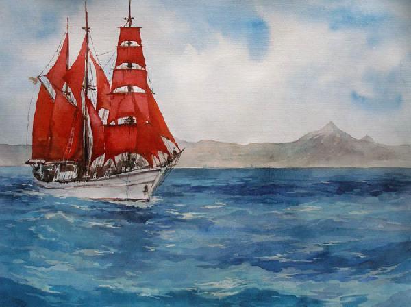 Море парусник алые паруса горы
