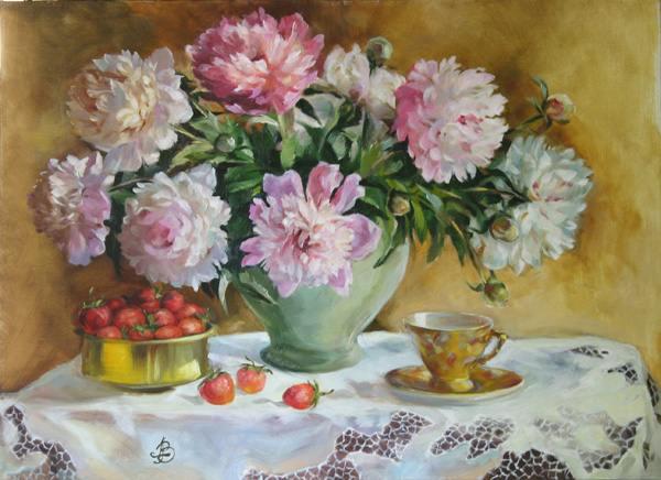 Дача лето цветы пионы клубника