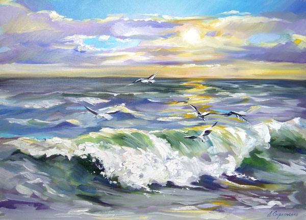 Море волны чайки морской пейзаж