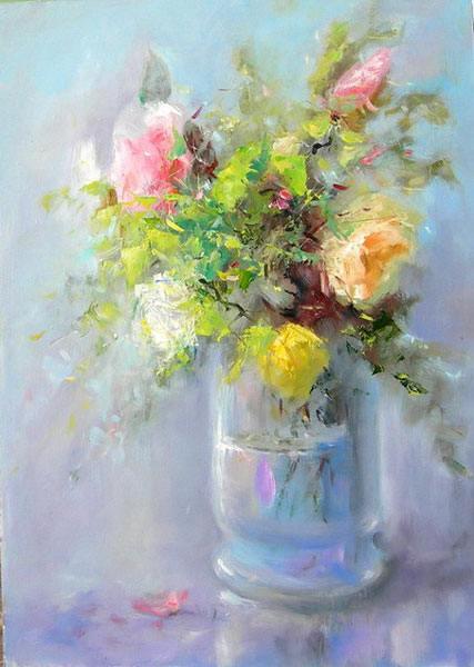 Цветы розы свет букет реализм