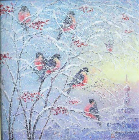 За окошком снегири греют куст рябиновый Наливные ягоды рдеют на снегу Я сегодня ночевал...