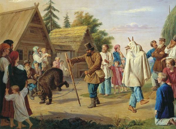 Скоморохи в деревне.  1857, Музей В.А.Тропинина и московских художников...