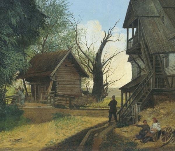 Сельский пейзаж с крестьянами 1845