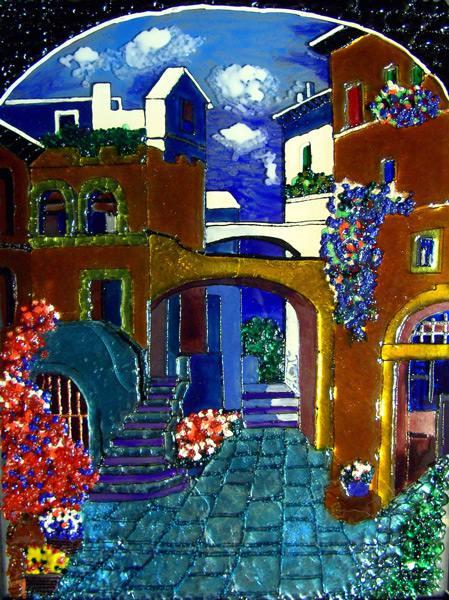 картина из стекла, витраж, панно, пейзаж, город, дворик, эмаль