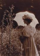 Woman with white parasol